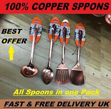 5x PIECE COPPER KITCHEN COOKING TOOL UTENSIL SET SPOON TURNER SLOTTED LADLE