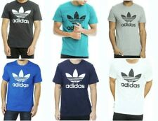 Men's Retro Adidas Original Cotton Trefoil Big Logo Crew Neck T Shirt on Sale