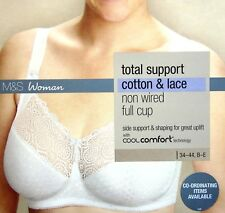 Marks & Spencer White Total Support Non Wired Bra Cotton & Lace Cool Comfort
