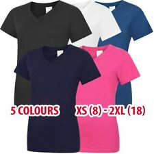 Ladies Classic V-Neck T-Shirt Tshirt Short Sleeve Top Cotton Vneck lot