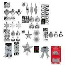 Christmas Tree Ornaments Silver Baubles Star,Heart,Drops,Bows Hanging Xmas Decor