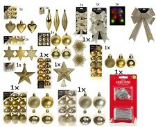 Christmas Tree Ornaments Gold Baubles Star,Heart,Drops,Bows Hanging Xmas Decor