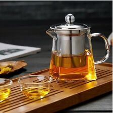 Glass Teapot 750Ml With Heat Resistant Stainless Steel Infuser Tea Coffee HOT