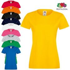 Fruit Of The Loom Corte Slim Mujer Manga Cuello Redondo Cotidiano Camiseta Lisa