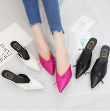 Women Grace Pointed Toe Sandals Bowknot Low Heel Stilettos Casual Slippers Shoes