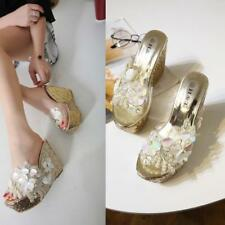 Ladies Lace Flowers Beads Decor Sandals Peep Toe Slippers Wedge High Heels Shoes
