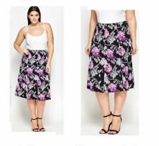 New Purple STRETCH Floral SUMMER Mid Skirt PLUS SIZE Curve 16-28 LOOK be Holiday
