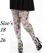 New RETRO COMIC STRIP Ladies Fancy Tights PLUS Size 18 20 22 24 26 be LOOK CURVE