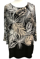 Plus size Tunic Top by SOFO Long Bell sleeves Black /White Curves size 16 to 36