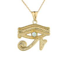 Solid Yellow Gold  14K Eye Of Horus (Ra) With Opal Center Stone Pendant Necklace