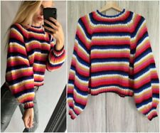 ZARA MULTICOLOURED STRIPED SWEATER WITH LONG PUFF SLEEVES SIZE M