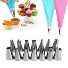Silicone DIY Icing Piping Cream Pastry Bag + 14 Nozzle Set Cake Decorating Tools
