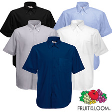 Fruit Of The Loom HOMBRE Camisa Oxford Manga Corta Cuello Abotonado Trabajo