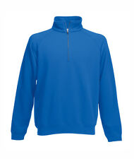 Felpa Collo Zip Uomo BLU ROYAL Fruit of The Loom 1/2 Cerniera PREZZO + BASSO!!!