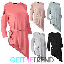 Womens Cut Out Shoulder Top Ladies Fancy Slanted Hem Belted Dress Top 8-14
