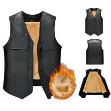 Sleeveless Vest Waistcoat PU Leather Outdoor Formal Winter Middle-aged V-neck