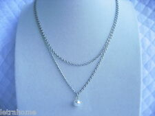 "19"" Silver Plated White 8mm Round Shell Pearl Double Chain Necklaces Present"