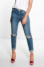 Boohoo Womens Mid Rise Marble Wash Mom Jeans