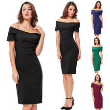 Dress Wiggle Cocktail Pencil Formal Off Lady Vintage Party 50s Style Bodycon