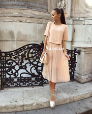 ZARA LONG MID LENGTH DRESS WITH PLEATED SKIRT NUDE PINK REF.4437/059 SIZE XS