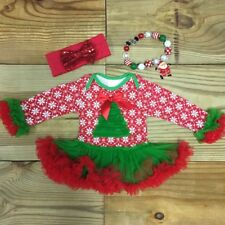 Christmas Tree Snowflake Tutu Ruffled Boutique Outfit Baby Girl Infant Clothing