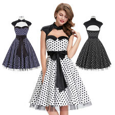 Dress Evening Front Dots Retro Housewife Vintage Party Swing Hollowed Polka 50s