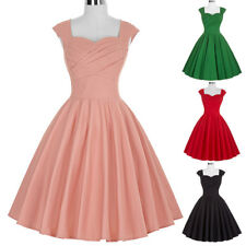Dress Evening Pinup Retro Vintage Hepburn Tea Womens Party Swing 50s Sleeveless
