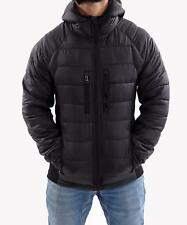 Mens Hooded Puffer Quilted Jacket Padded Bubble Outwear Winter Coat Black S-XXL