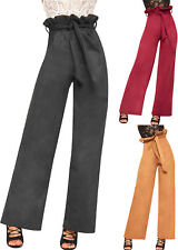 Womens High Waisted Suede Belted Wide Leg Palazzo Pants Ladies Paperbag Trousers