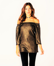 Gorgeous womens black/gold shimmer bardot top. new with tags