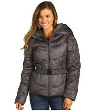 THE NORTH FACE WOMENS COLLAR BACK 550 DOWN HOODED PUFFER JACKET GRAY SZ XS S NEW