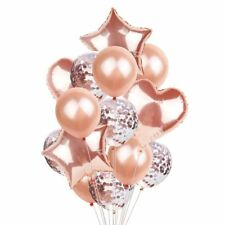 Foil Heart Balloons Rose Gold Star Confetti Set Latex Wedding Party Decorations