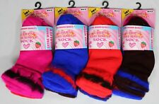 3 Pairs Kids Girls Childrens Thermal Socks Cotton Bright Colour Size 6-8 9-12-3
