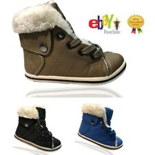 Kids Boys Girls Flat Boots Pumps Fur Line Lace Up Casual Trainers Shoes Size Uk