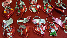 CHRISTMAS CHARM KEY RINGS ON A RED HEART