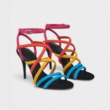 ZARA HIGH HEEL SUEDE LEATHER SANDALS WITH COLOURFUL STRAPS SIZE UK 6 EU 39