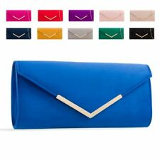 Ladies Designer Faux Suede Envelope Clutch Bag Evening Bag Handbag Purse KL2435