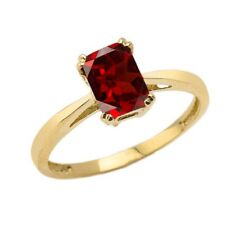 Solid 10k 14k Yellow Gold 1CT Emerald Cut Garnet CZ Solitaire  Ring
