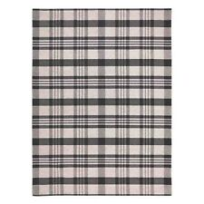 Cottage 10K CHECKED TARTAN BLACK GREY WashableAnti slip Kitchen Rug Runner D.Mat