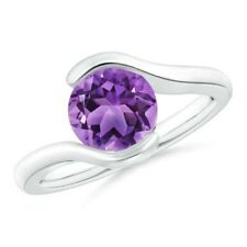 1.7tcw Semi Bezel-Set Solitaire Round Amethyst Bypass Ring Gold/Platinum