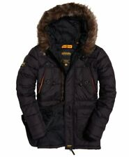 Superdry Mens Chinook  Long Parka Black Jacket Fur Parka Quilted Style