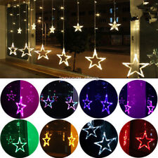 Star Shaped Led Lights String Curtain Window Bedroom Festival Lamp Home Decor
