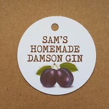 Personalised Homemade Damson Gin Tags Bottle Labels Vodka