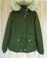 ZARA GREAT CASUAL KHAKI HOODED PARKA JACKET WITH DETACHABLE LINING Size S