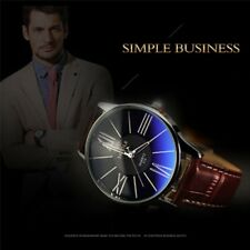 Fashion Business Mens Watch Glass Leather Band Quartz Analog Wristwatch Watches