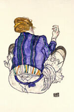 1917 Egon Schiele Seated Woman With Legs Drawn Up Painting New Poster Reprint