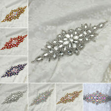 6 Colour Glass Rhinestone Diamante Applique Trim Iron On Bridal Dress Belt  Craft d275b2c3a