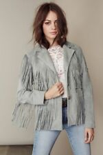 Womens Suede Leather Grey Fringe Native American Western Style Cowboy Jacket