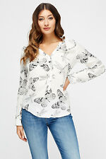 Women Dragonfly Print Black White V Neck Cuff Long Sleeve Silky Blouse S M L XL