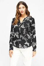 Women Dragonfly Black Top White V Neck Cuff Long Sleeve Silky Blouse 8 10 12 14